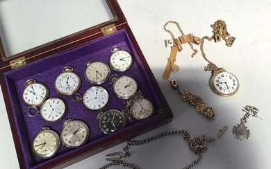 A collection of twelve various open-faced pocket watches com...