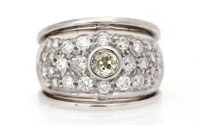 NOT SOLD. A diamond ring set with numerous diamonds weighing a total of app. 2.00...