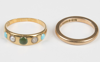 A gold, turquoise and half-pearl five stone ring, detailed '18', a gold wedding ring, deta