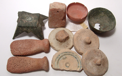 A group of 10 ancient bronze and pottery objects