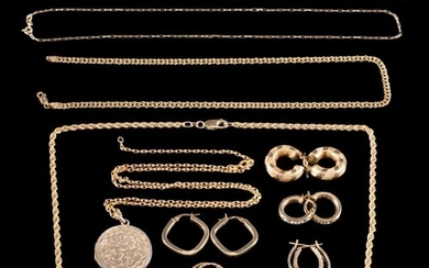 A group of 9 carat gold: including earrings, necklaces, pend...