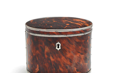 A late 18th / early 19th century silver mounted tortoiseshell tea caddy