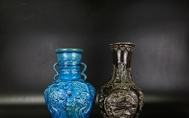 A lot of two Chinese mottled with dragons design monochrome porcelain vases in unusual shape (2)