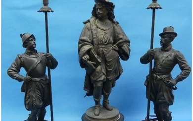 A pair of 20thC spelter Figural Lamps, depicting two well dr...