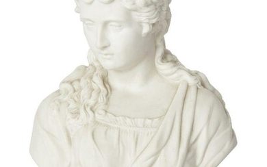 A parian porcelain bust of a woman by James & Thomas Bevington, late 19th century, on socle base, stamped JT & B to base, 27cm high