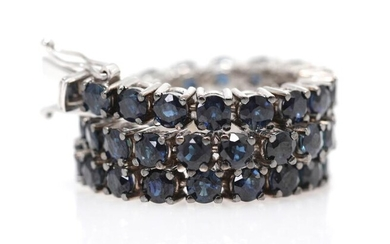 A sapphire bracelet set with numerous sapphires weighing a total of app. 10.43 ct., mounted in 18k white gold. L. app. 17.8 cm. – Bruun Rasmussen Auctioneers of Fine Art