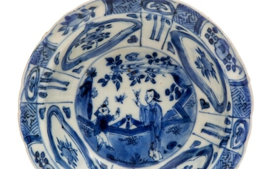 A small blue and white kraak porcelain bowl