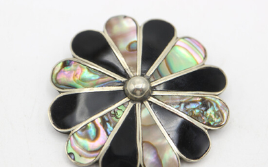 ALPACCA MOTHER-OF-PEARL BROOCH.