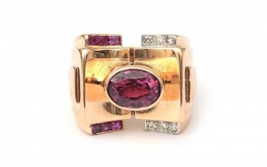 An 18 karat rose gold tourmaline, ruby and diamond cocktail ring. Incl. leather ring box of Leysen Frères, Bruxelles. Gross weight: 16.3 g.