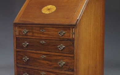 An Edwardian mahogany and line inlaid bureau, the fall with oval fan inlay, enclosing fitted interior over four long drawers, on square tapering legs with spade feet, 104cm high, 80.5cm wide and 51.5cm deep.