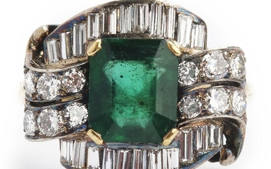 An emerald and diamond ring set with an emerald-cut emerald encircled by numerous brilliant and baguette-cut diamonds, mounted in 14k gold and silver. – Bruun Rasmussen Auctioneers of Fine Art