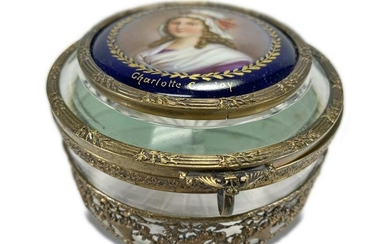 Antique French box with Charlotte Corday portrait