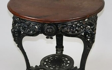 Antique Tavern Table with Cast Iron Base