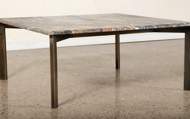 BRASS MARBLE TOP COFFEE TABLE IN MODERNIST STYLE