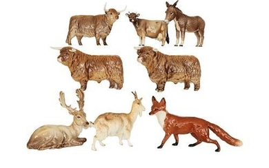 Beswick Animals Comprising: Goat, Donkey, Stag (lying), and Fox; together...