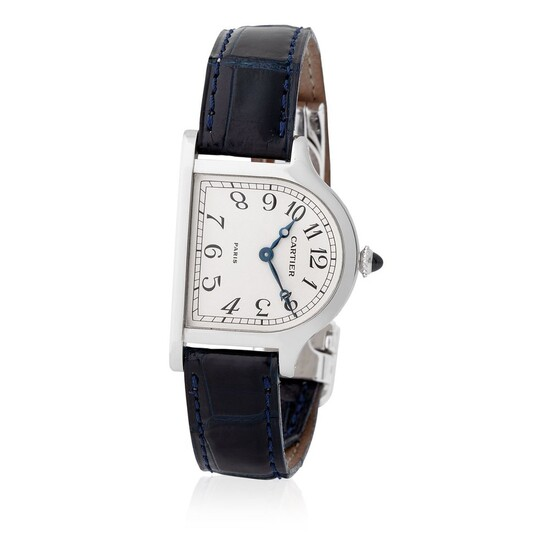 Cartier Paris. Unique Piece and Highly Attractive Cloche Wristwatch in Platinum, With Arabic Numerals and Box and Tag