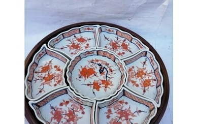 Chinese Decorated Made In Hong Kong Serving Dish Fitted In W...