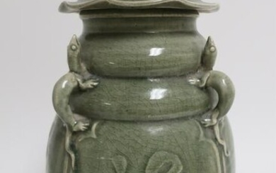 Chinese Longquan Celadon Covered Jar