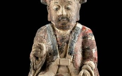 Chinese Qing Dynasty Polychrome Wood Reliquary Figure