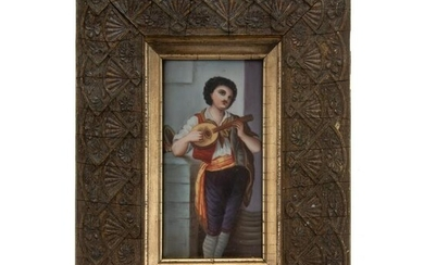 Continental Painted Porcelain Plaque of Musician