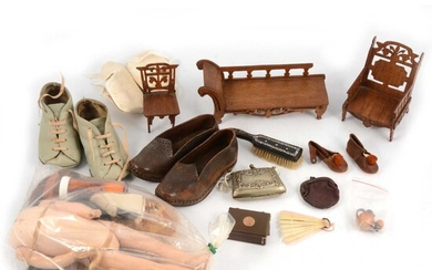 Dolls and Dolls house accessories; including pair of Victorian child's shoes