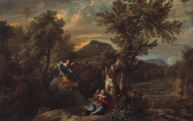 NOT SOLD. Dutch school, 17th century: Hagar and the angel in the wilderness. Unsigned. Oil on canvas. 114 × 144 cm. – Bruun Rasmussen Auctioneers of Fine Art