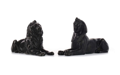 EARLY 20TH CENTURY BRONZED SPELTER FIGURES OF A LION AND A SPHINX