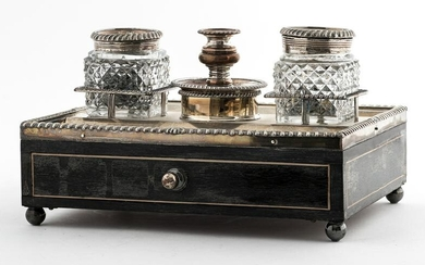 English Victorian Inkwell And Desk Stand