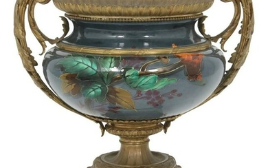 French Porcelain & Gilt Bronze Urn