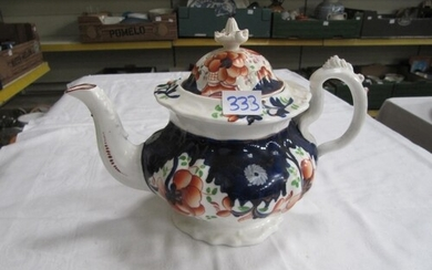 Gaudy Welsh Tea Pot C1850 Variation of Carmarthen Pattern - ...