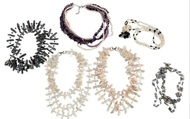 Group of Six Necklaces, to include pearl single strand