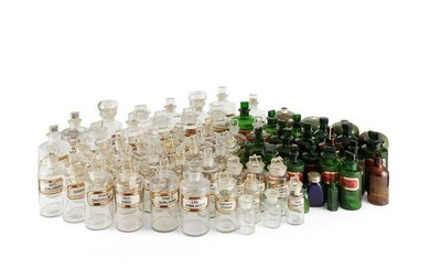 LARGE COLLECTION OF GLASS PHARMACY BOTTLES LATE 19TH