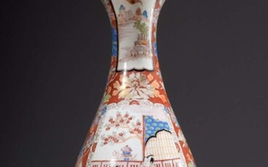"Large Japanese floor vase with fanned rim and ""genre scenes""..."
