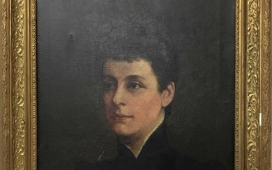 Late 19th / Early 20th century English school oil on canvas - portrait of a lady, in gilt frame