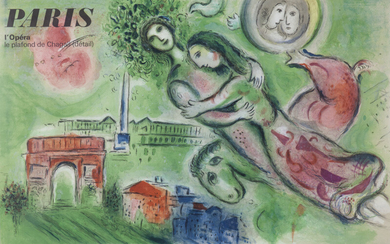 """Marc Chagall """"Paris l'opera"""" lithographic poster."""