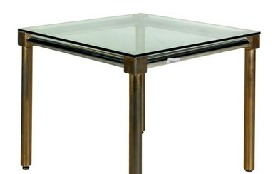 Mid Century Modern Chrome Brass Dining Room Table
