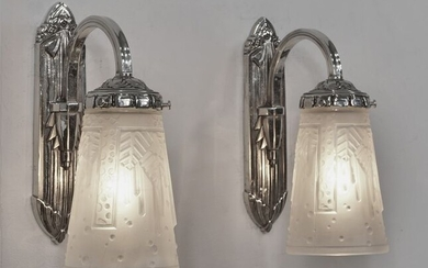 Muller frères - A pair of French art deco wall sconces