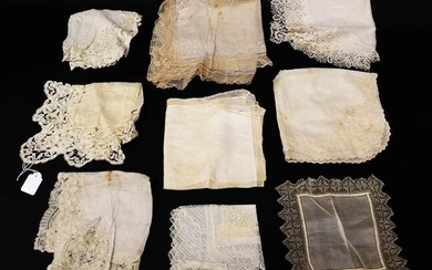 Nine Assorted White Cotton and Silk 19th Century and Later...