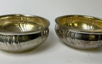 PAIR OF CONTINENTAL SILVER BOWLS & LINER