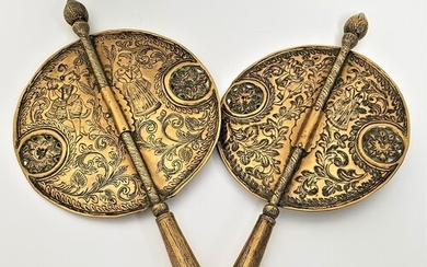PAIR OF INDO PERSIAN BRASS PROCESSIONAL ALAMS or staff finia...