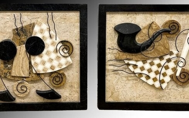 PAIR OF MARBLE AND STONE MUSICAL MOTIF WALL PLAQUE