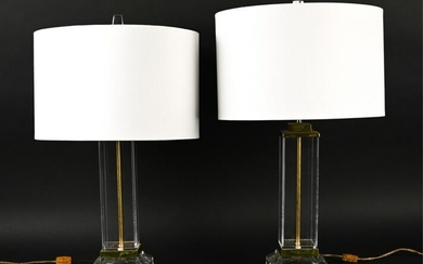 PAIR OF VINTAGE LUCITE, BRASS, & GLASS TABLE LAMPS