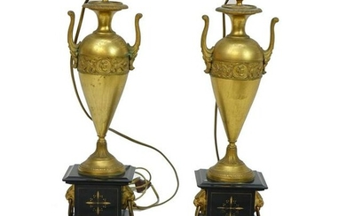 Pair of 19/20th C. Empire Style Bronze Lamps