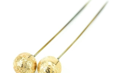 Pair of Antique 19th C Gold Filled Stick Pins