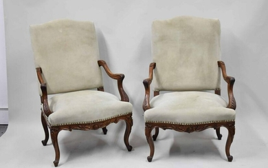 Pair of Louis XV Style Carved Open Arm Chairs