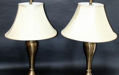 Pair of brass finish table lamps
