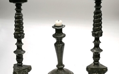 Pair of pewter pricket candlesticks t/w antique pewter candl...