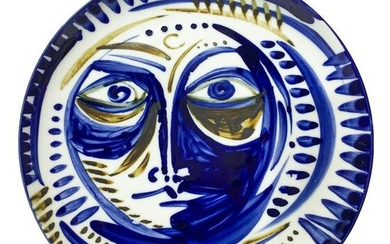 Porcelain wall plate depicting face in blue shades. In