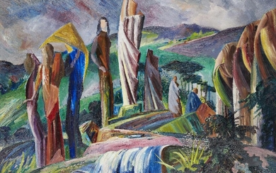 Robert Dumont-Smith FRSA, British 1908-1994 - Figures above a waterfall; oil on board, inscribed on label on the reverse of the frame, 61 x 91.5 cm (ARR) Robert Dumont-Smith was born in Croydon, the son of an émigré American artist. He exhibited at...