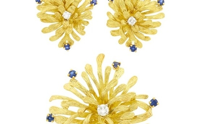Scully & Scully Gold, Platinum, Diamond and Sapphire Flower Brooch and Pair of Earclips